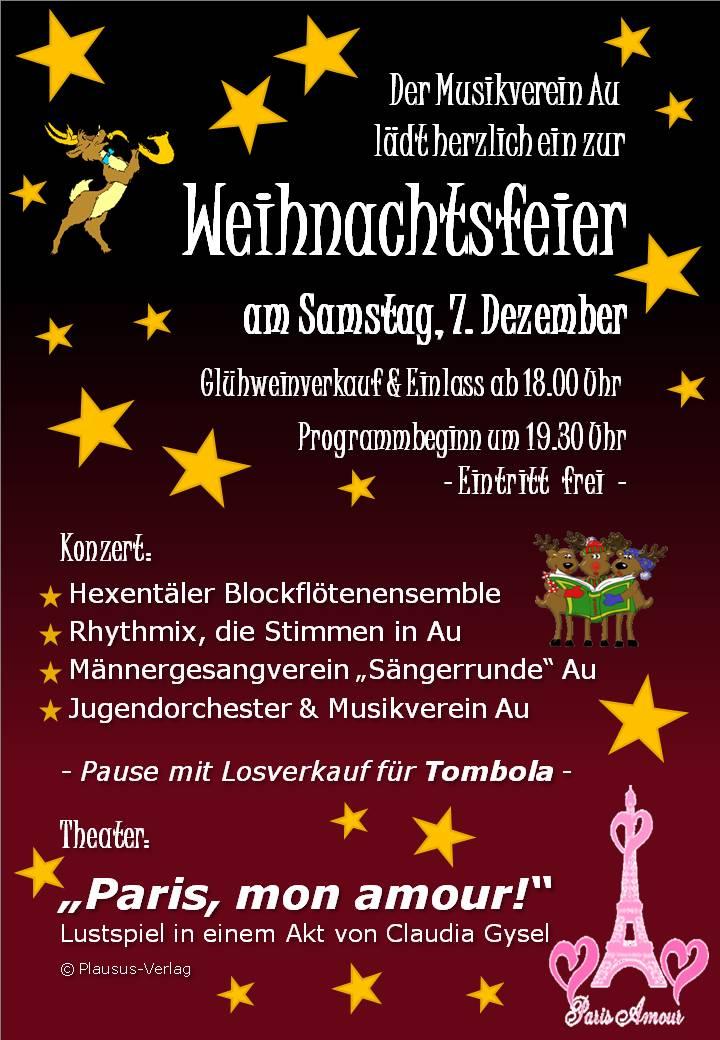 Weihnachtsfeier Plakat.Weihnachtsfeier Mit Theater Konzert Im Bürgerhaus Bürgerhaus Au